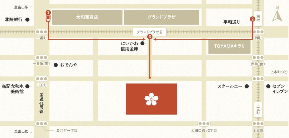 公共交通をご利用の場合のマップ